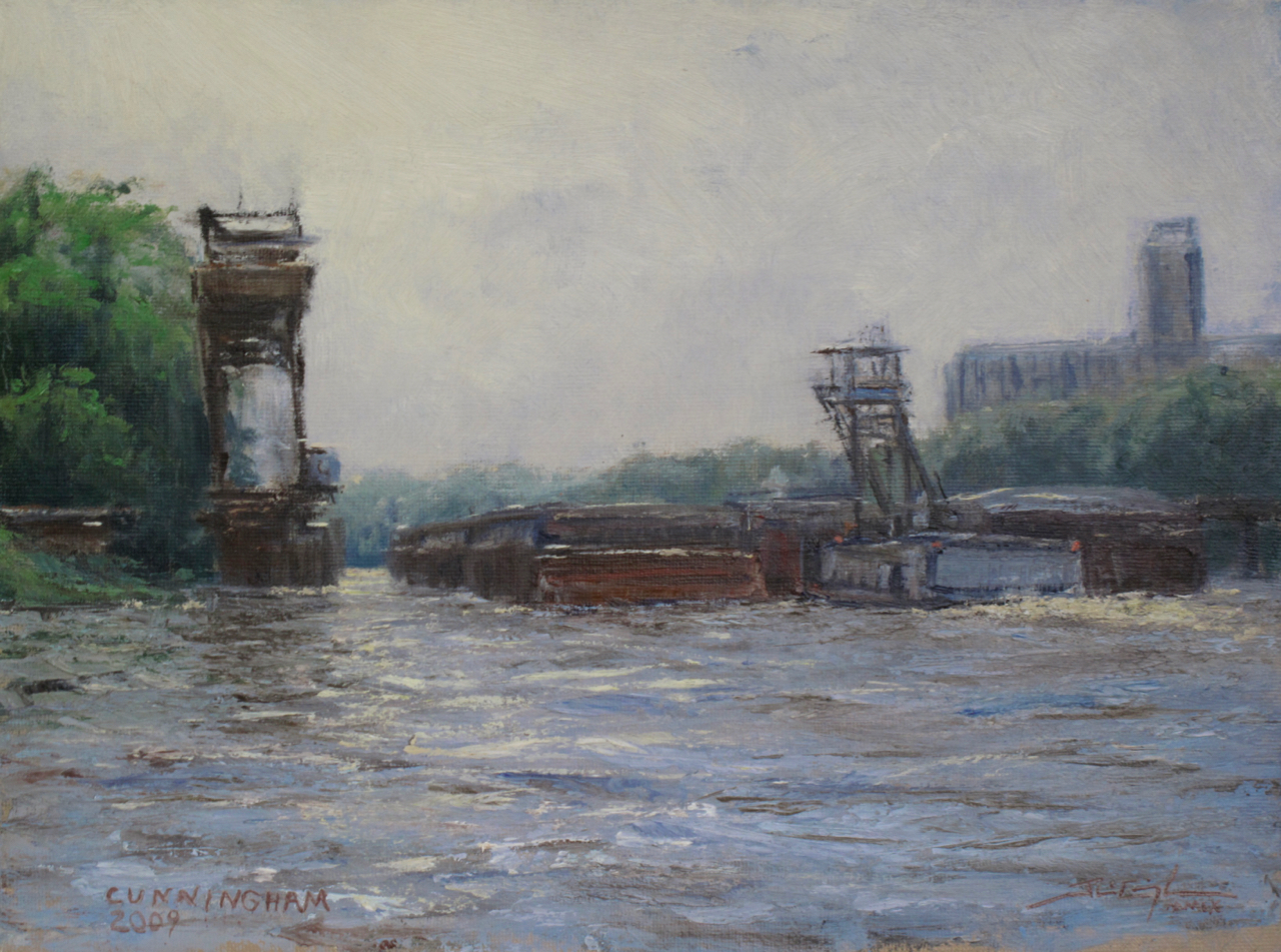 """Pushing Empties"", 9""x12"", Oil on Mounted Canvas, Private Collection   Media Award Winner , St. Paul Art Crawl Fall 2009"