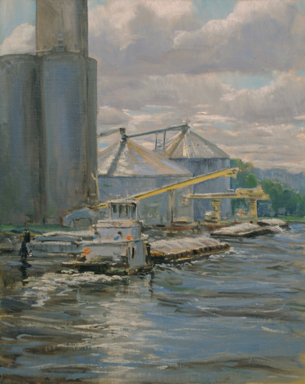 """Pushing Tin""  Oil on Linen, 20""x16"", Available   First Place , Quick Paint Competition  Plein Air Art Festival, Red Wing MN 2008"