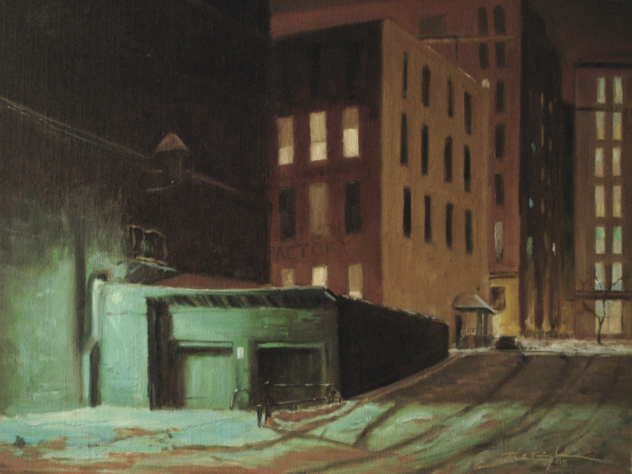 """Lowertown Night Life""  12""x16"", Oil on Linen, Private Collection  ""Media Award Winner"", Spring 2007, St. Paul Art Crawl Poster Competition   Best in Show   1st Annual Juried Art Competition, 2007  Savage Arts Council, Savage MN"