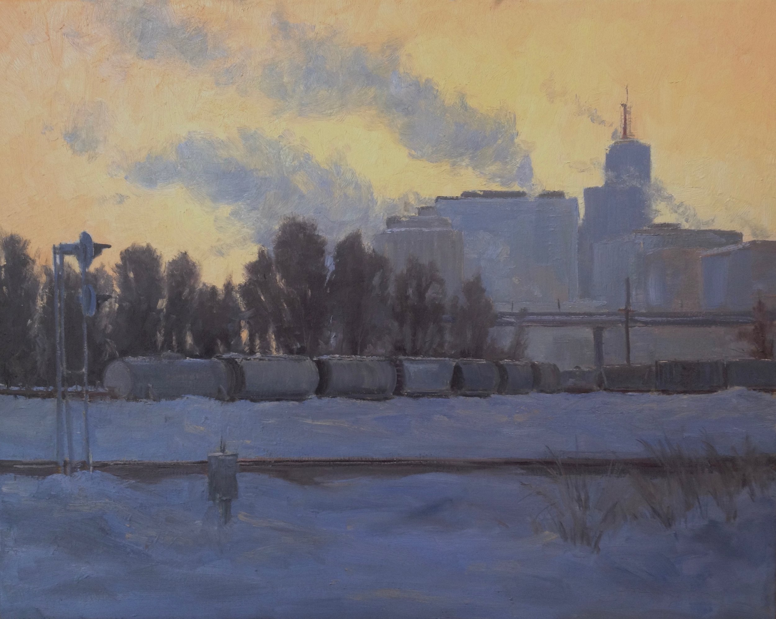 """Winter Evening"" 24""x30"", Oil on Linen, Private Collection   Honorable Mention  Extremely Minnesotan, Robbin Gallery, 2014"