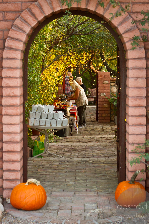 stone arch pumpkins image