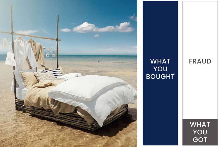 A marketing image for a duvet alongside a bar graph indicating that you only received about 20 percent of what you paid for