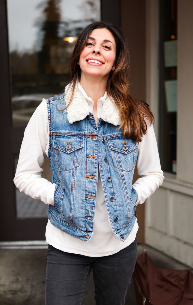 Denim Shearling Vest by Guess Jeans