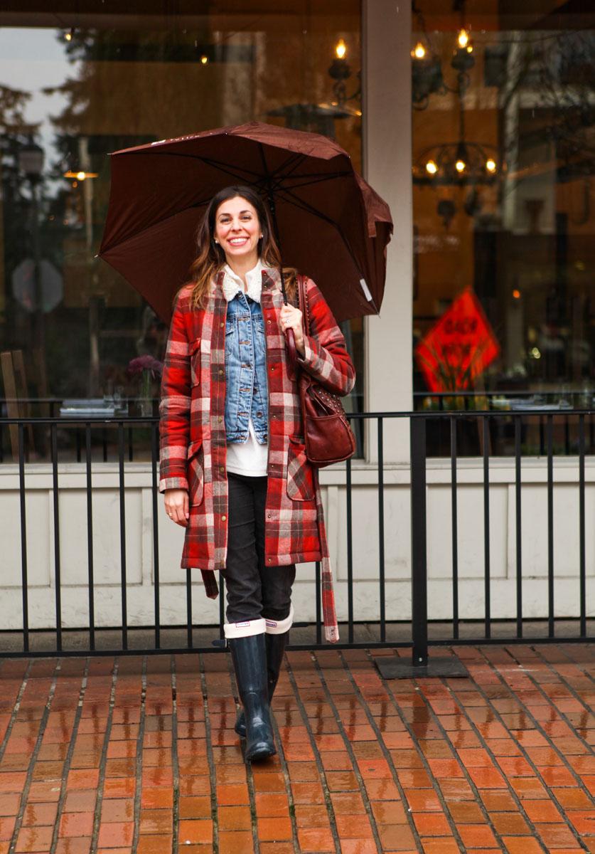 plaid coat and rain boots #Pendletonportlandcollection #pendletoncoat