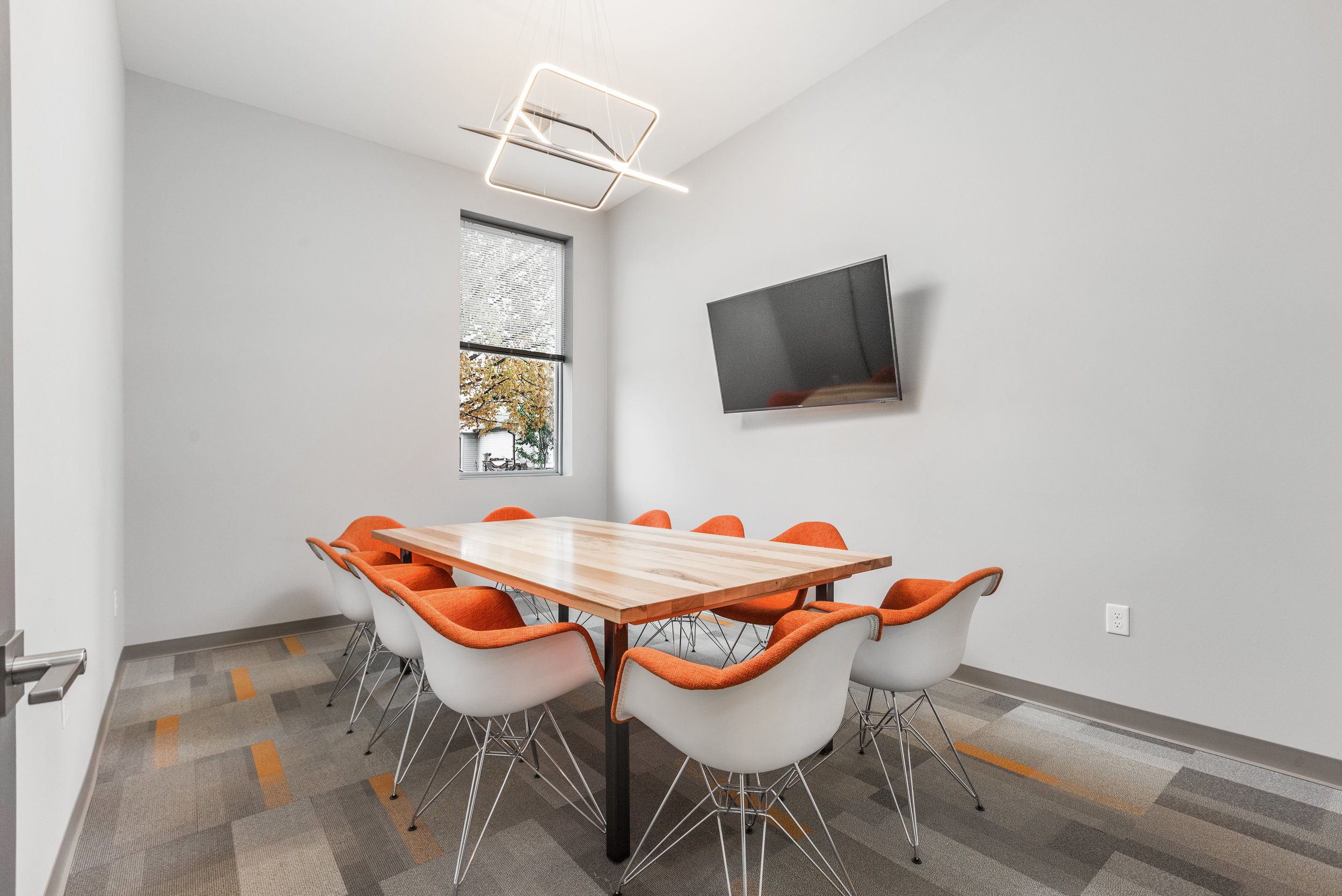 The Exchange   Our largest conference room accommodates up to 10 guests and includes wi-fi, smart TV with cables, power for laptops, and whiteboard. $50/hour.
