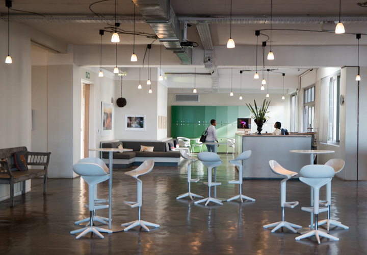 OPEN in Johannesburg, Africa   Combining the best of physical and virtual environments,  OPEN  is Johannesburg's gem coworking space. Different membership types allow for hotdesking, booking boardrooms, and free printing. You can also begin a tab at the coffee bar with member-only prices or a take a swing on the professional indoor putting green.