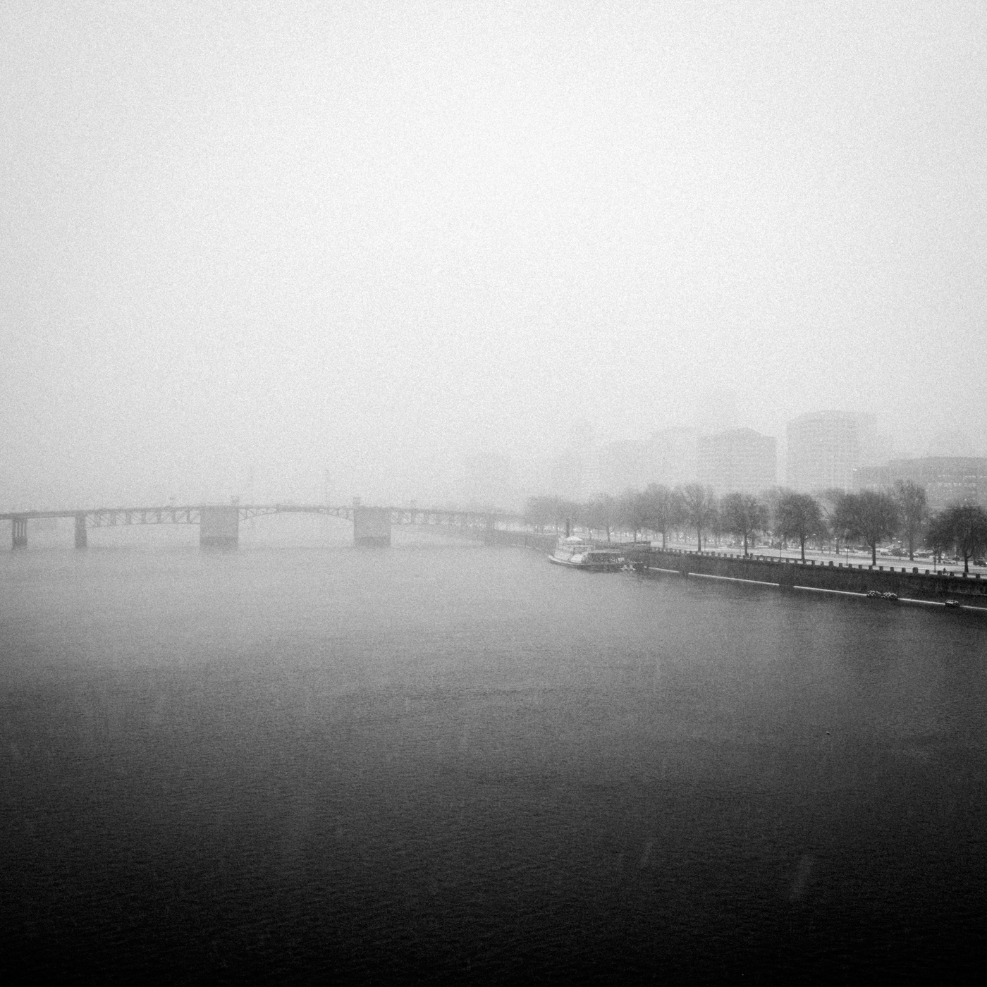 Willamette River from Burnside Bridge during a snowstorm, December 2016