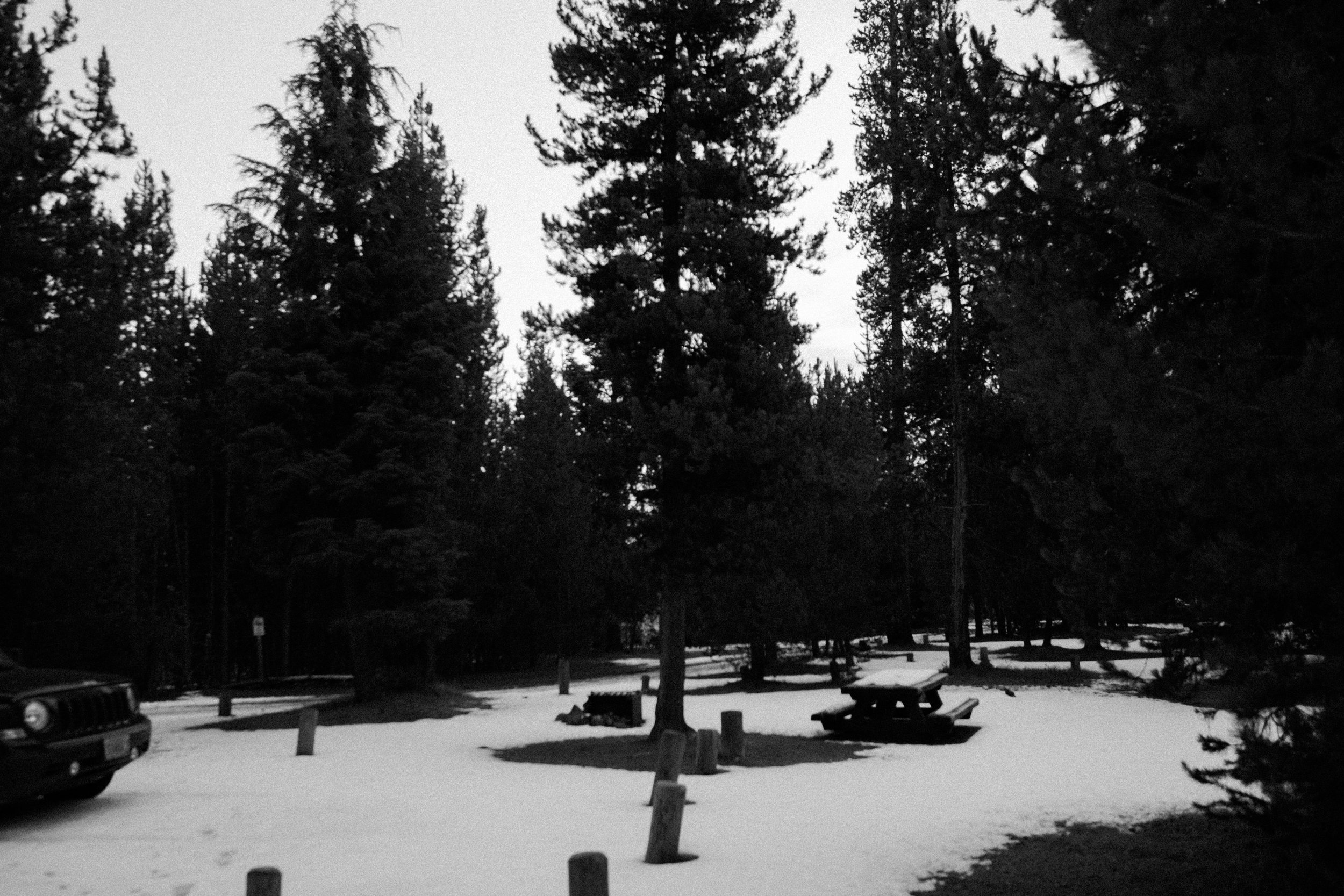 Empty and cold campground, 6:20am