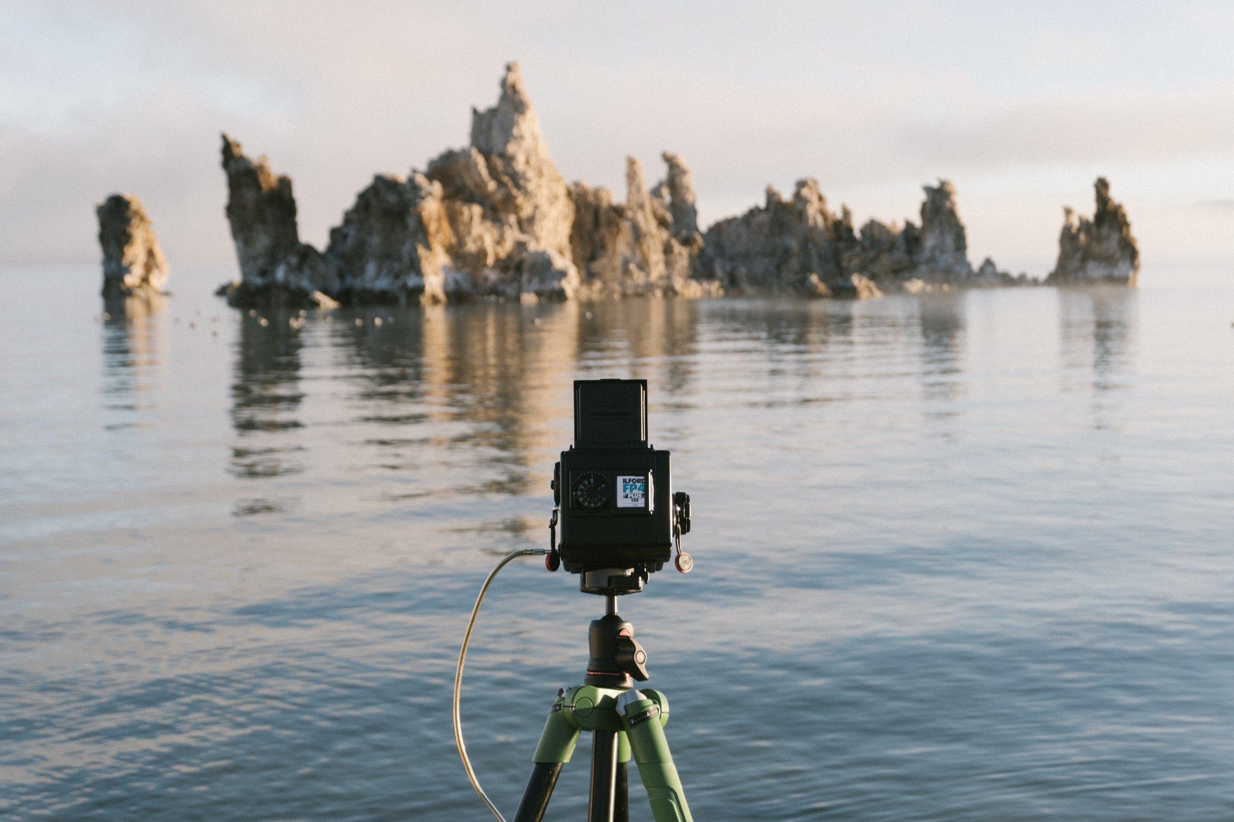 Taking a long exposure in Mono Lake, California