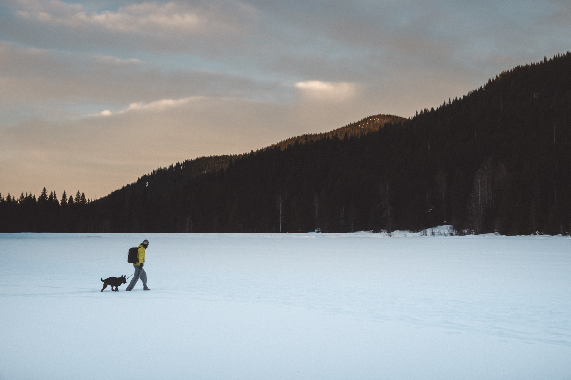 Luna and I walking on a frozen Trillium Lake, Mt Hood National Forest, OR.