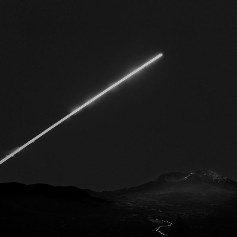 Moonrise over Mt St Helens. 3.5-hour-long long exposure.