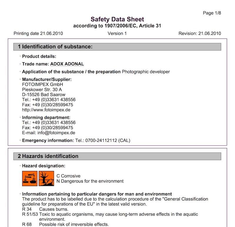 Adox Adonal Material Safety Data Sheet