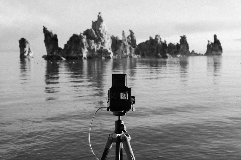 Taking a long exposure at Mono Lake, California.