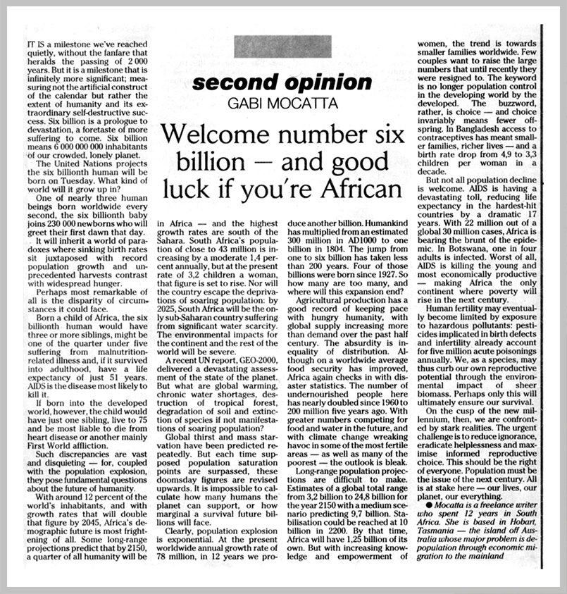 The Johannesburg Sunday Times — Welcome number six billion — and good luck if you're African