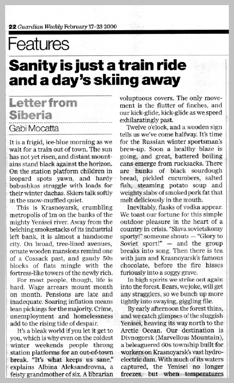 The Guardian Weekly — Letter from Siberia