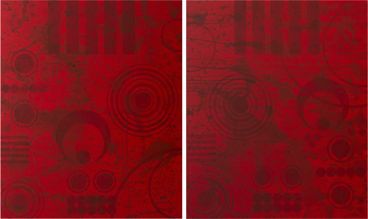 J. Steven Manolis,REDWORLD GLAZE 2017; Diptych, 2017, Acrylic on canvas, 72 x 120 inches. 2 panels, 72 x 60 inches each. Gifted to the Coral Springs Art Museum, Coral Springs, FL. 2017.01 & 2017.2
