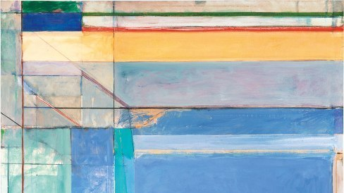 Richard Diebenkorn's 1975 work  Ocean Park #79  ,  features pastel blues, lavenders and aquas — and thin strips of deep red and green at the top to draw the viewer's gaze upward. The Estate of Richard Diebenkorn/Courtesy Philadelphia Museum of Art.
