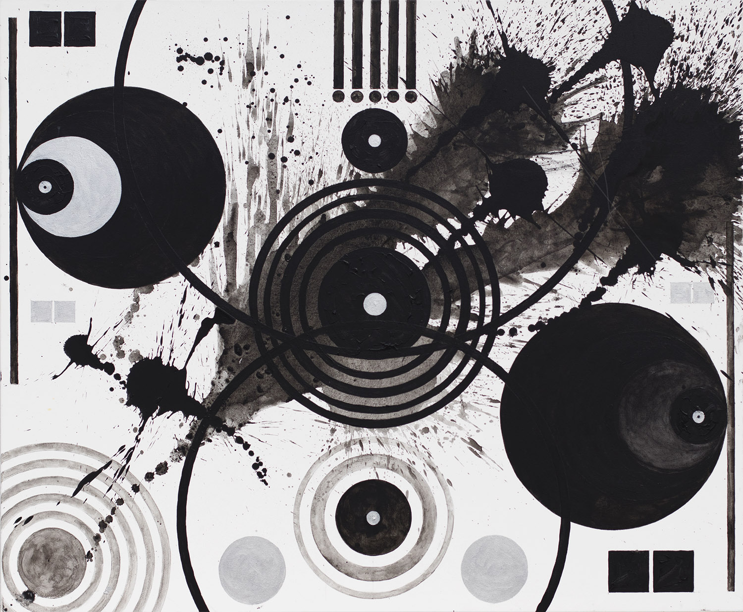 J. Steven Manolis, Black and White (Splashes, Symbols, and Marks), Acrylic on canvas, 2018, 60 x 72 inches