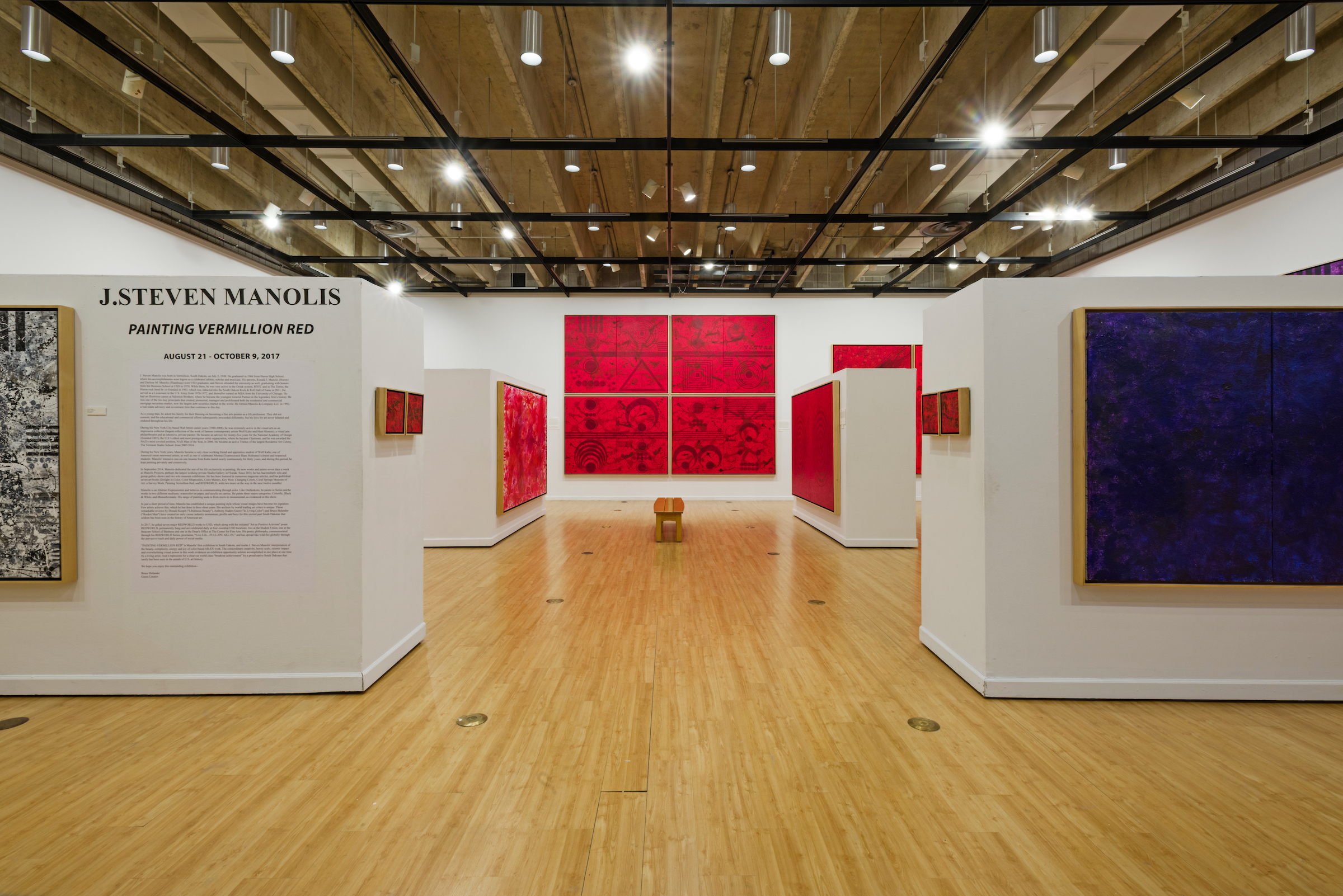"J. Steven Manolis' Solo Exhibition Show, "" Painting Vermillion Red ,"" at the John A. Day Gallery in the Warren M. Lee Center for Fine Arts, USD, Vermillion, South Dakota."