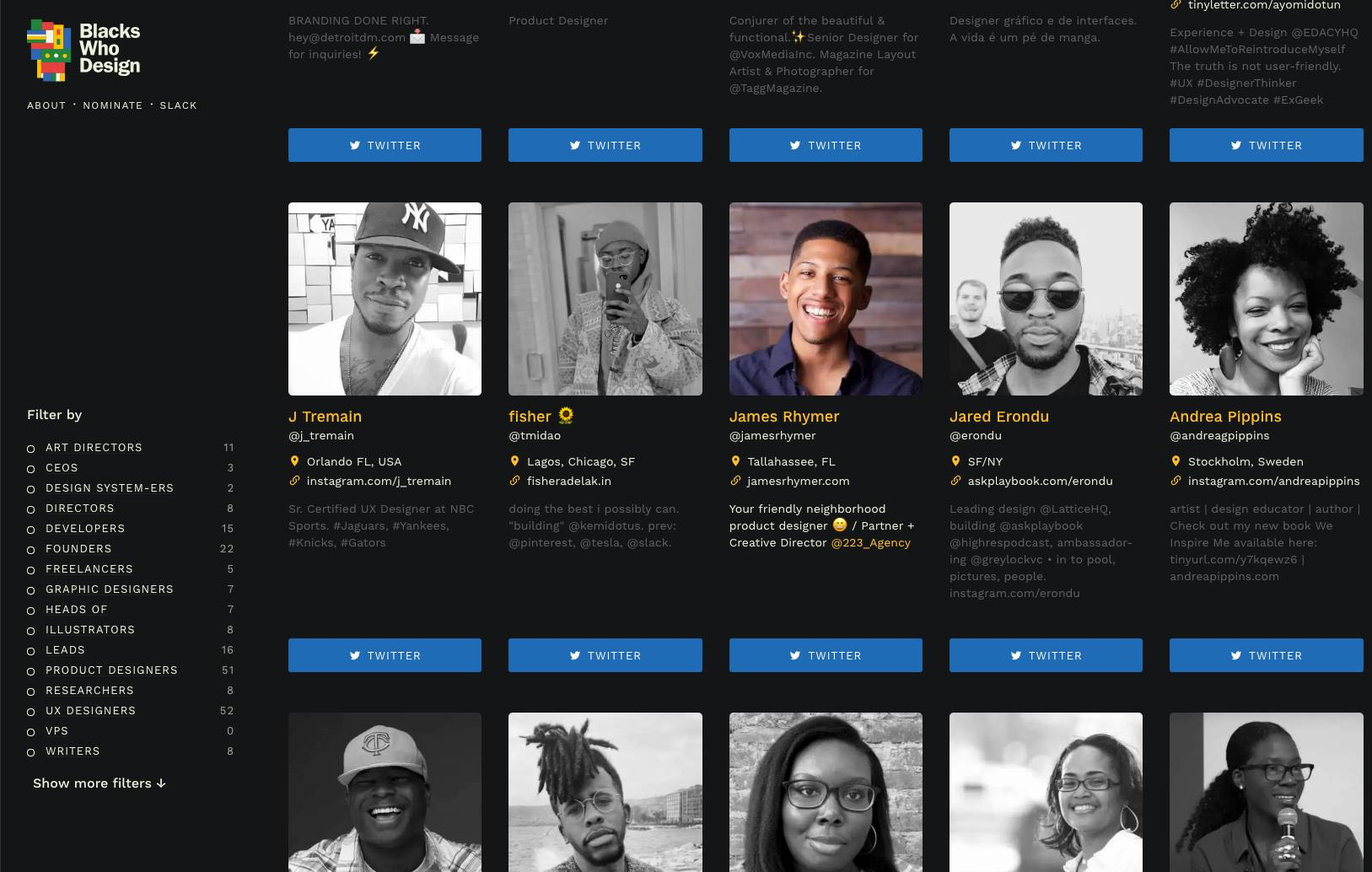 Blacks Who Design - I was recently featured on Blacks Who Design ✌�: a directory that highlights all of the inspiring Black designers in the industry. The goal is to inspire new designers, encourage people to diversify their feeds, and discover amazing individuals to join your team. 👔https://blackswho.design/