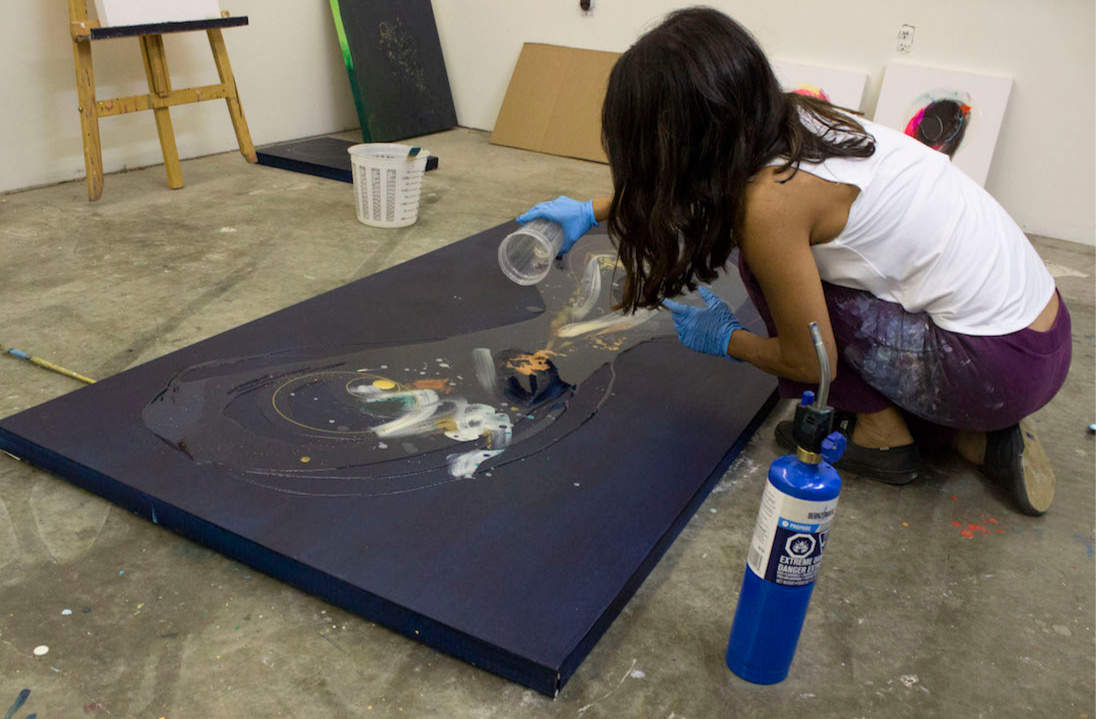 "Pouring resin on ""Contact""."