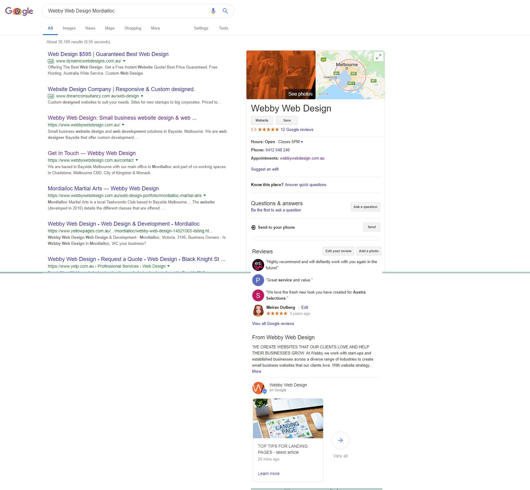 Google My Business example on 'search'
