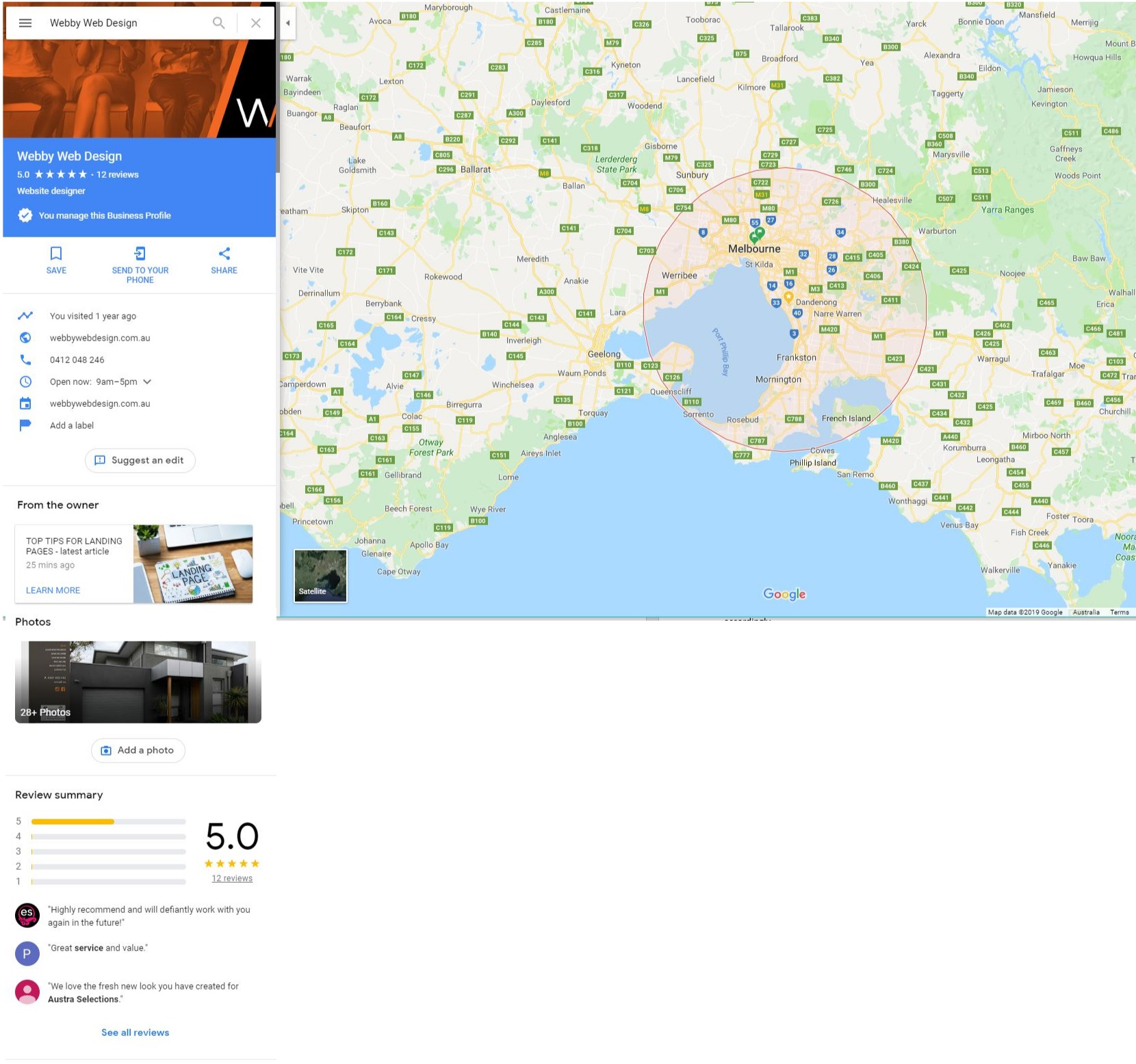 Google My Business Example on 'maps'