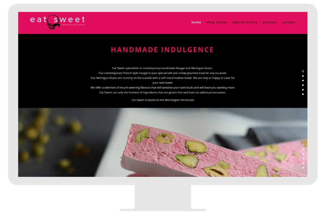 The full Eat Sweet Website developed in 2016