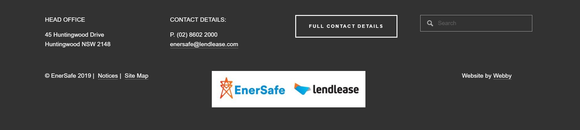 Enersafe (Squarespace website footer)