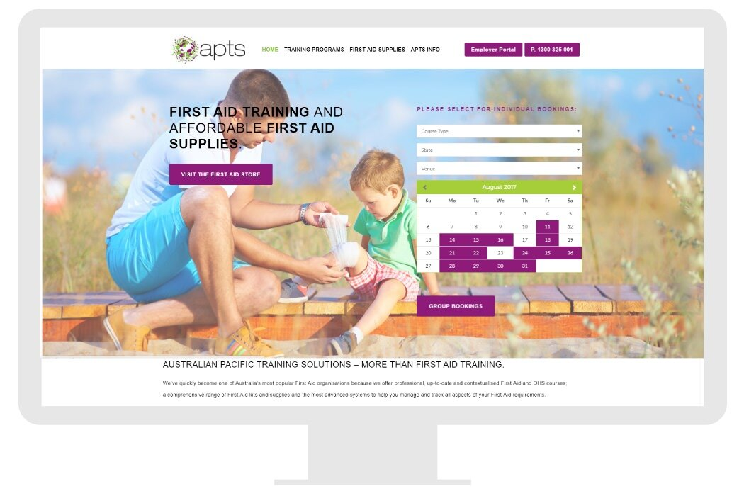 CTA = bookings or browse shop. For bookings a calendar is embedded.