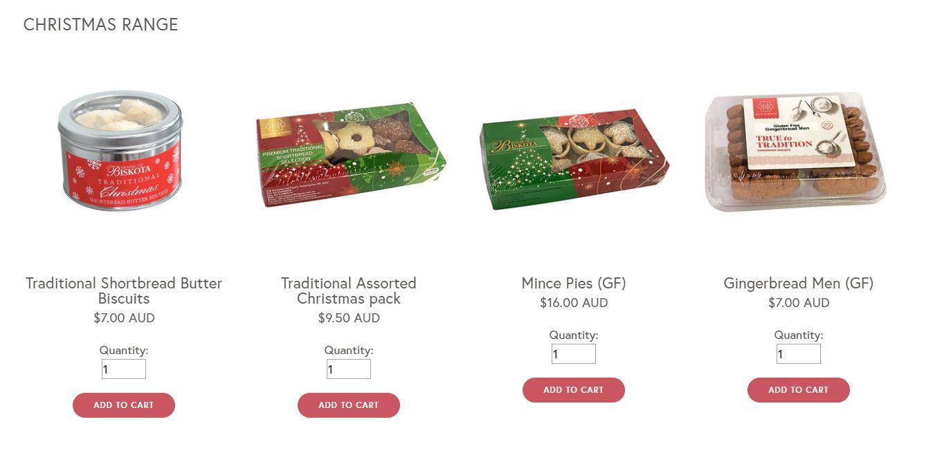 Christmas product range example