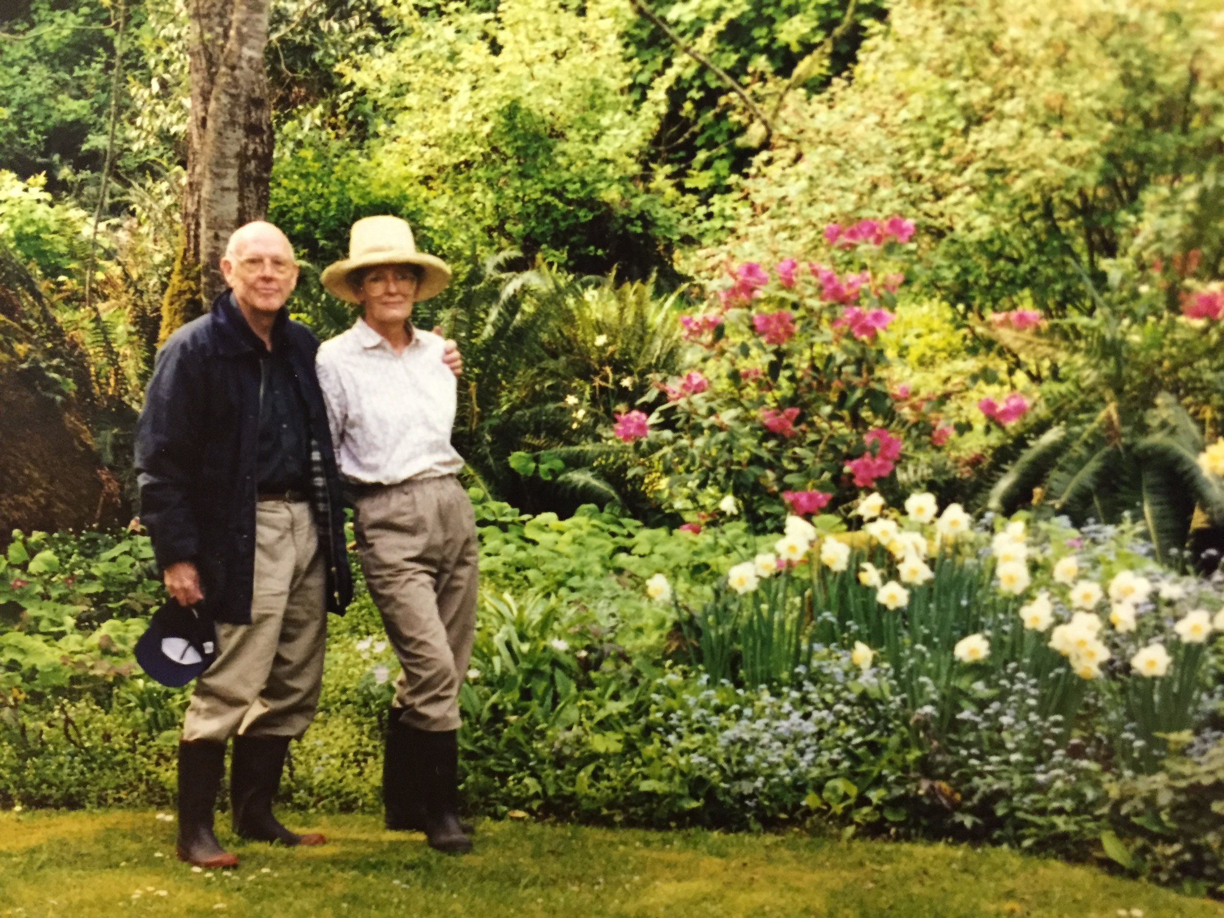 Brian and Sarah McLoughlin in the garden in 1998.