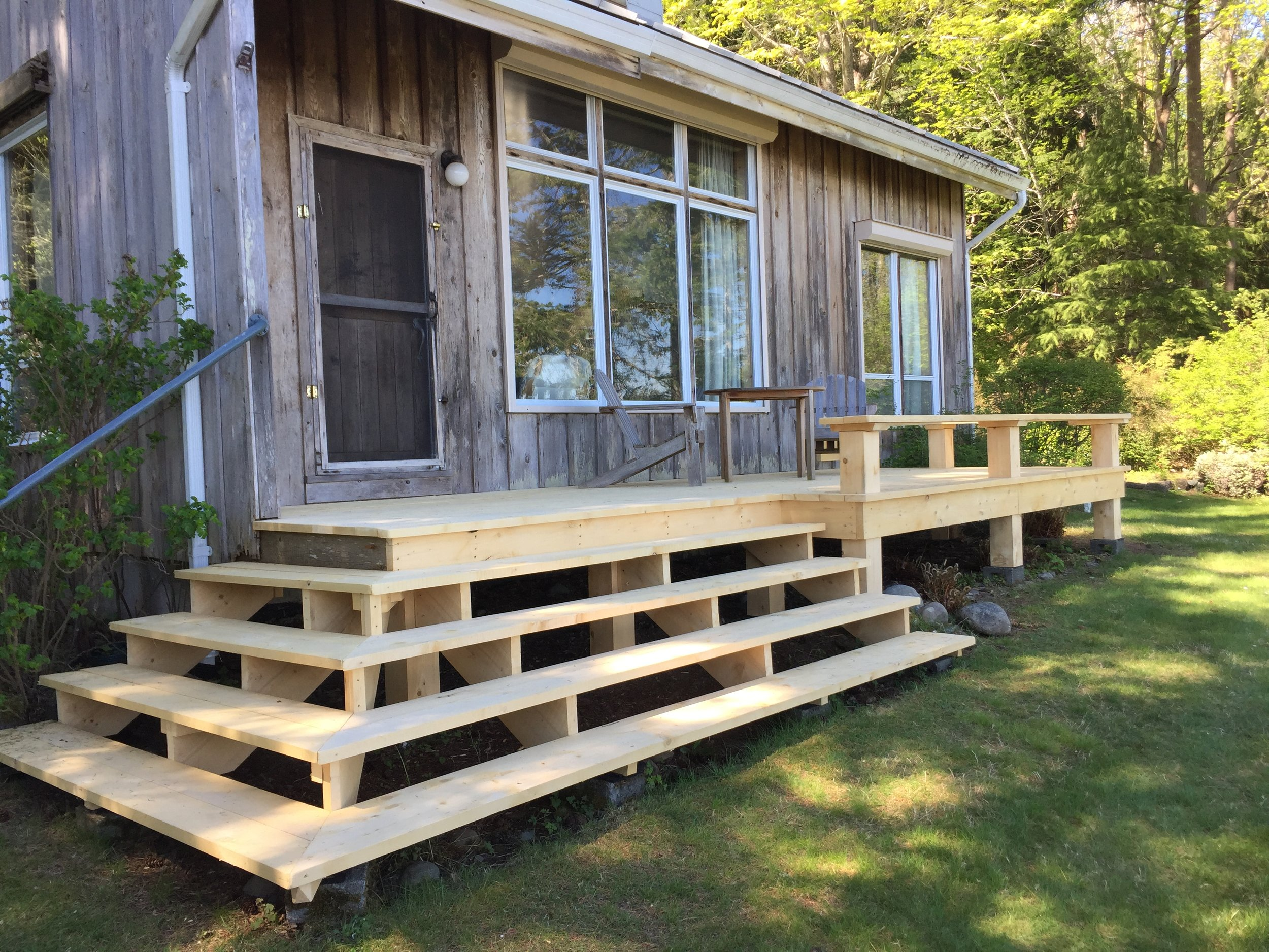 The new deck was built by two dedicated volunteers, using some beautiful yellow cedar from a local sawmill.