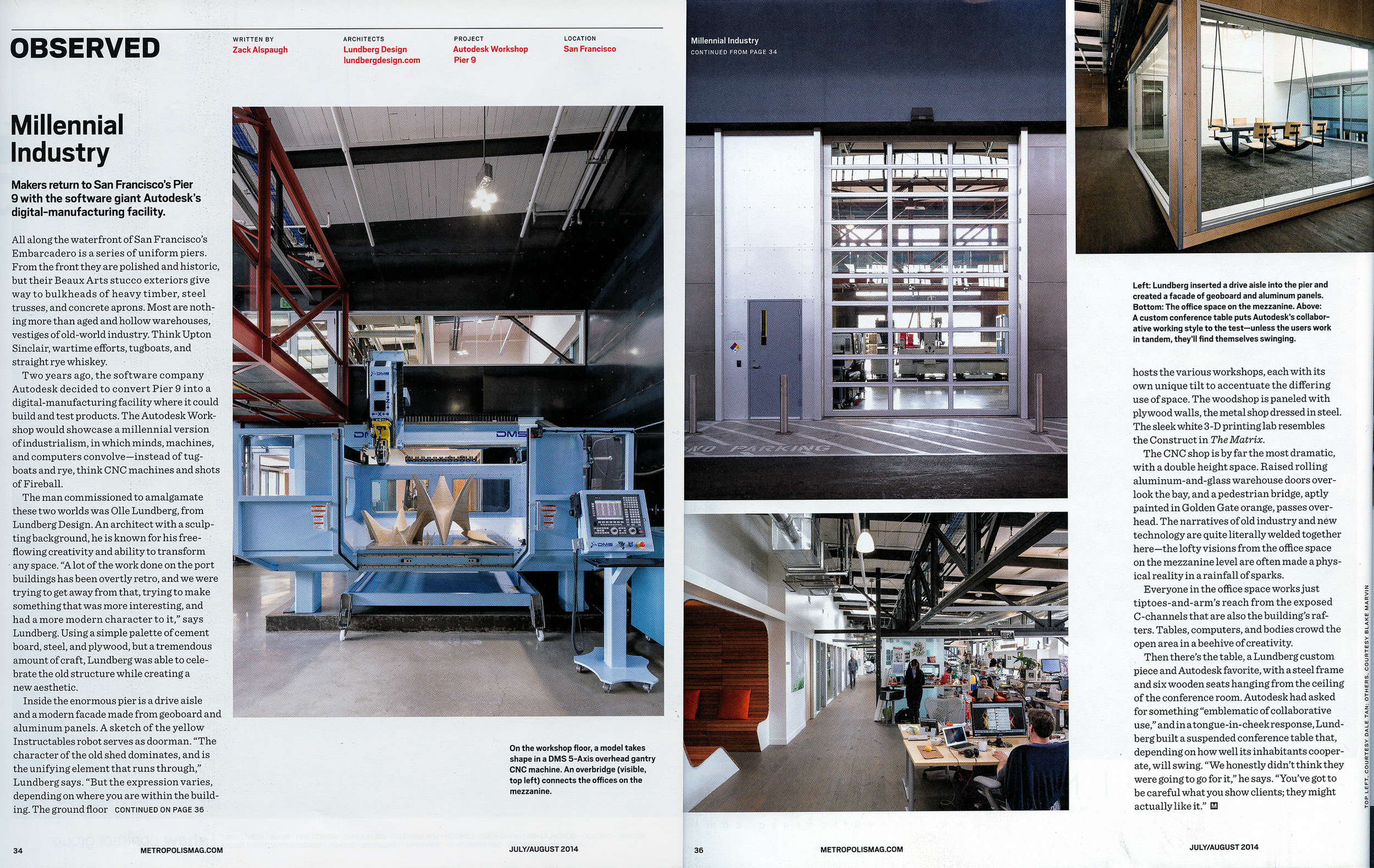 "Metropolis Magazine   ""Millennial Industry"", July-August 2014, pg 34-36"