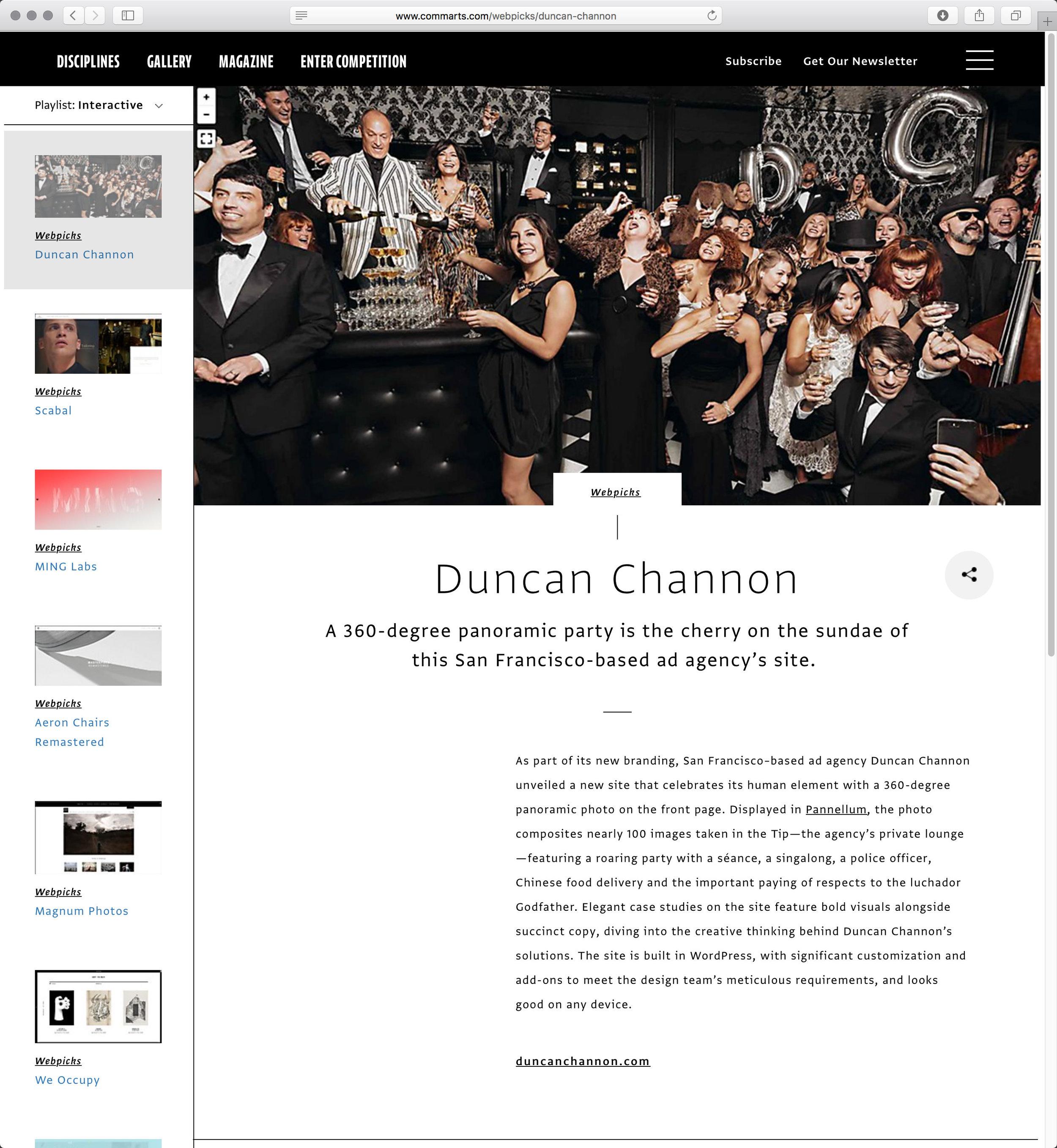 Communication Arts Webpicks   Duncan Channon 360 Panorama, Nov 2016