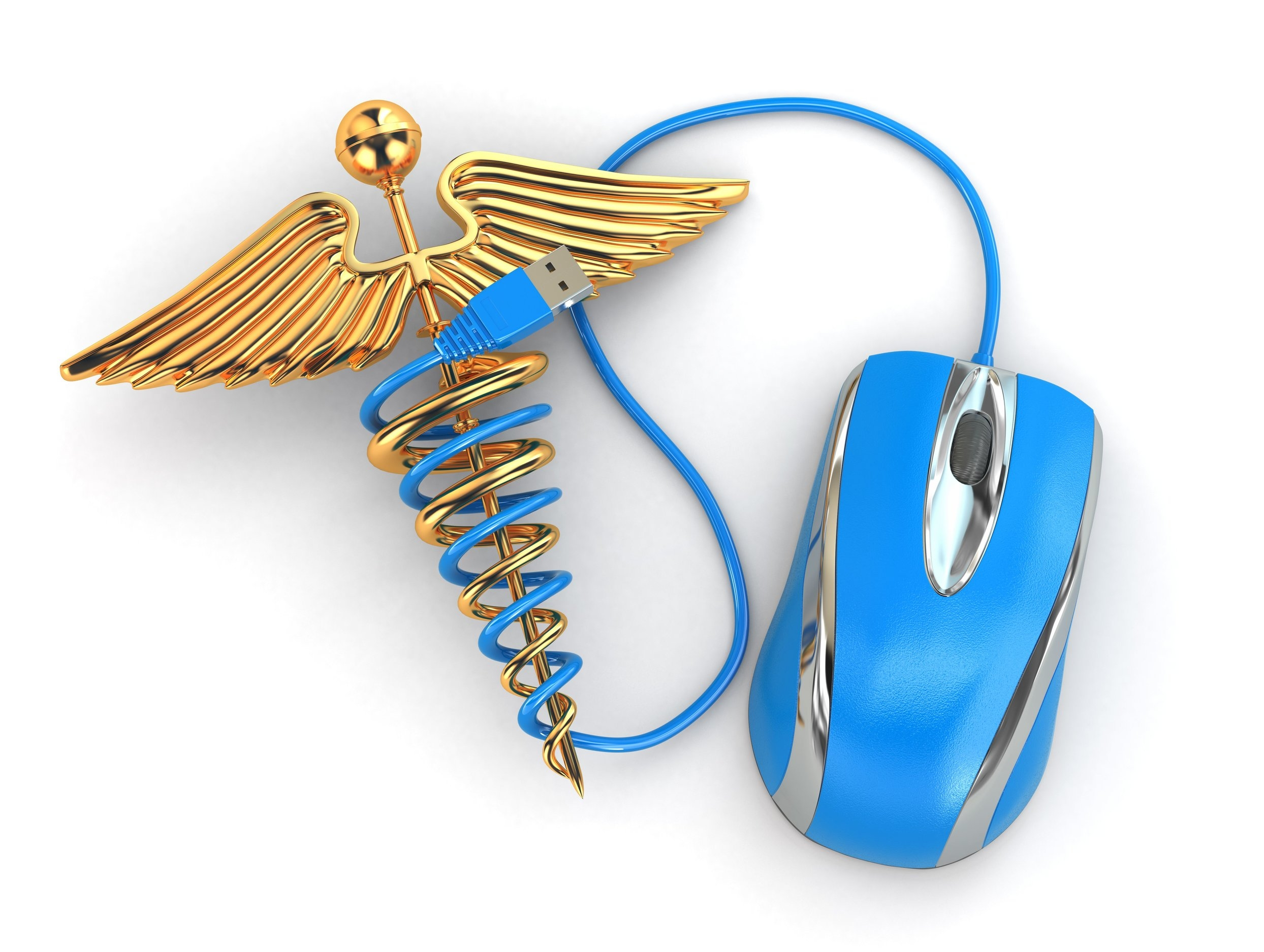 Health Technology Medical Computer Mouse Wire Blue Gold Caduceus.jpg