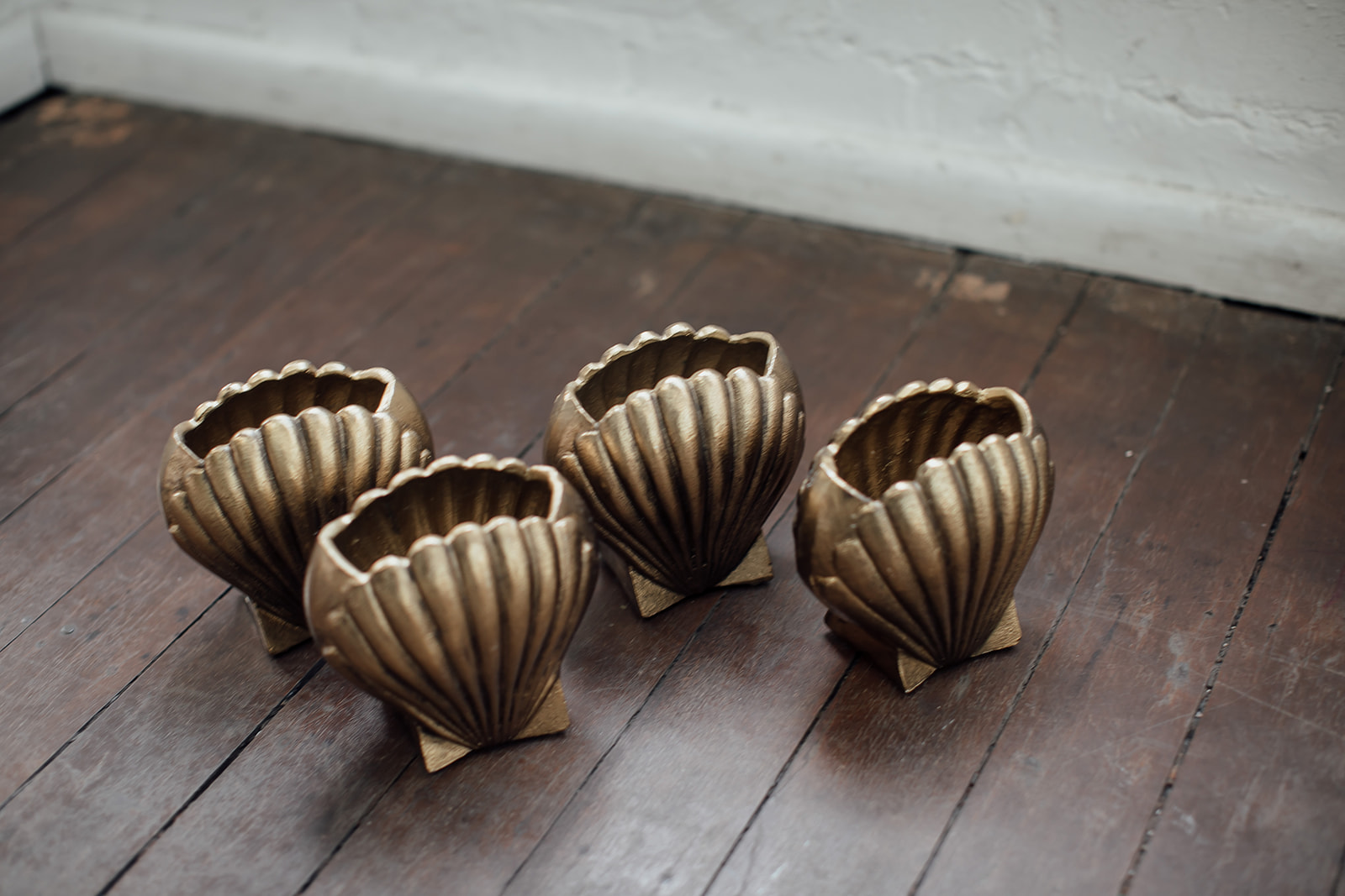 melted shell vases - $15.00 each or hired set of 6 x pieces for $72.00