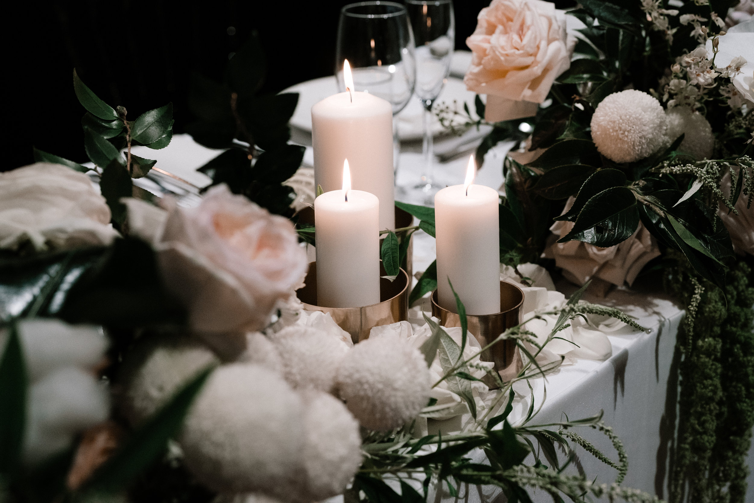pillar candle hire package x 15 pieces in gold cylinder vases *as pictured or square glass vases. choice of black or white pillar candles - $440.00