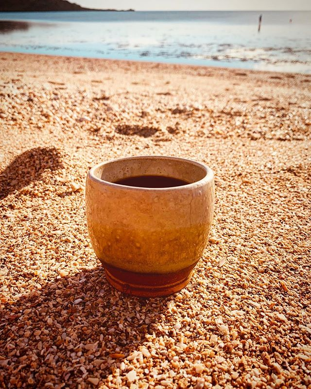 Coffee at the beach. Thank you @earth2alida for my beautiful and unique cup. You have so much talent. I can't wait to see what you come up with next.