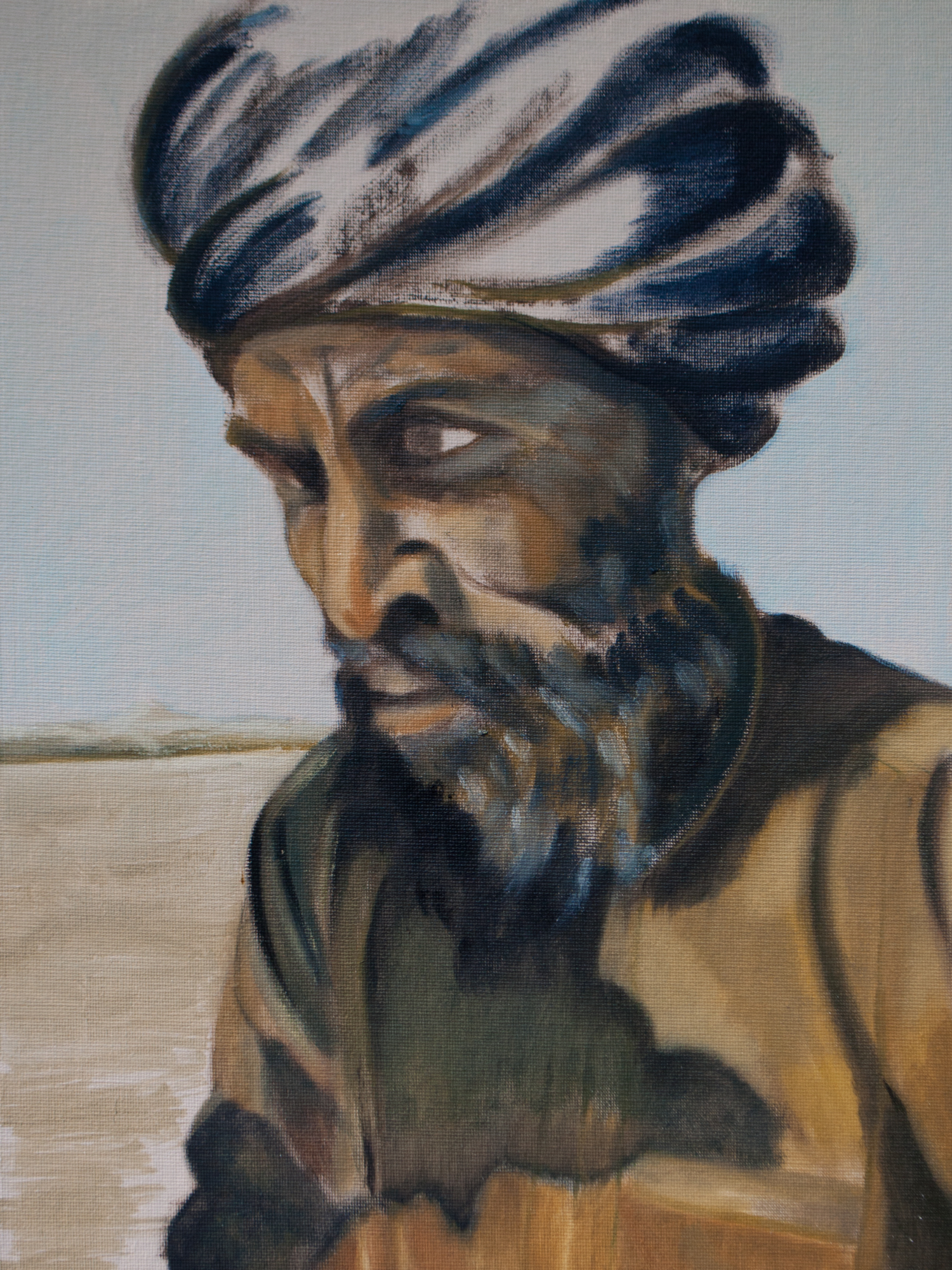 "Portrait of an Arab / Afghanistan, 16"" x 12"", Oil on Canvas, 2012"