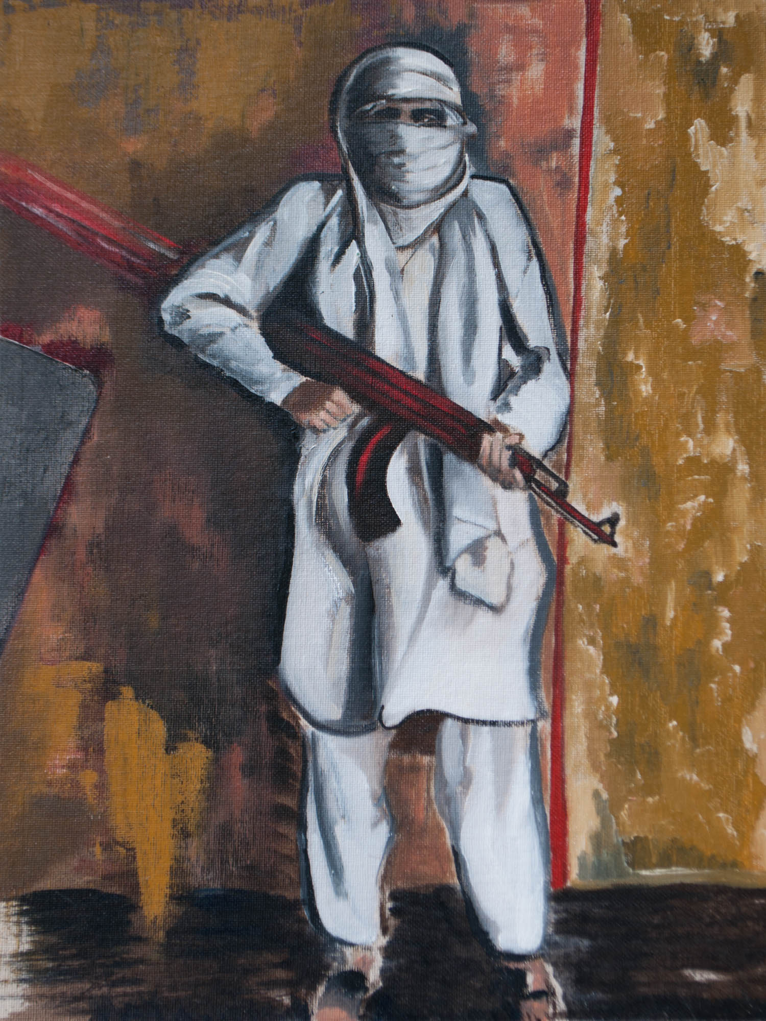 "Taliban / Afghanistan, 16"" x 12"" Oil on Canvas Board, 2010"