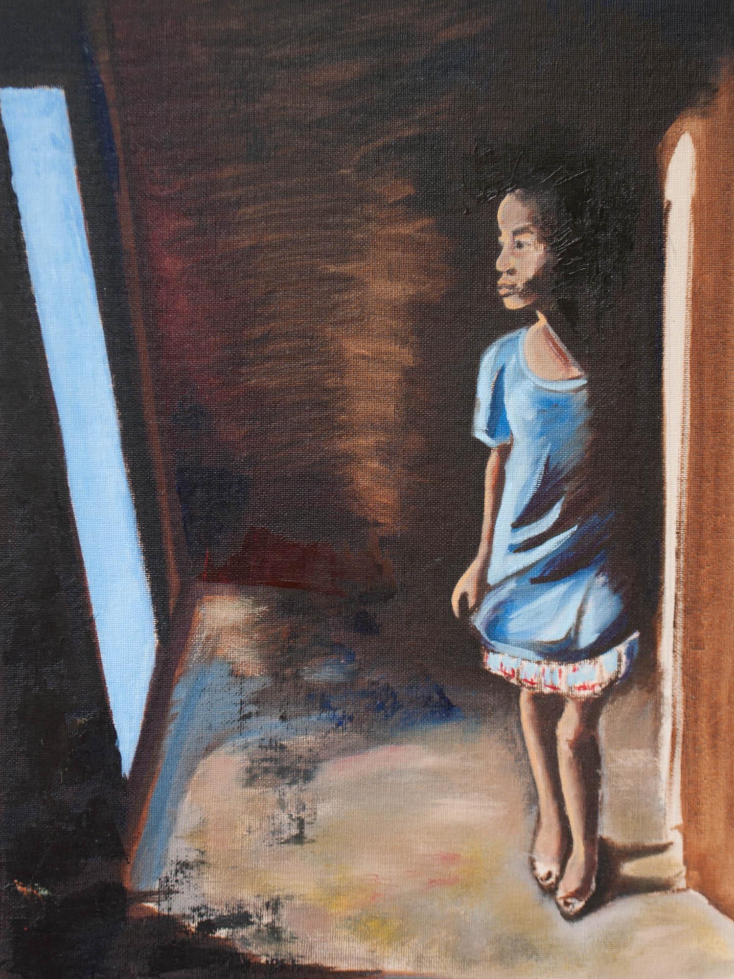 "Survivor / Haiti, 16"" x 12"" Oil on Canvas Board, 2010"