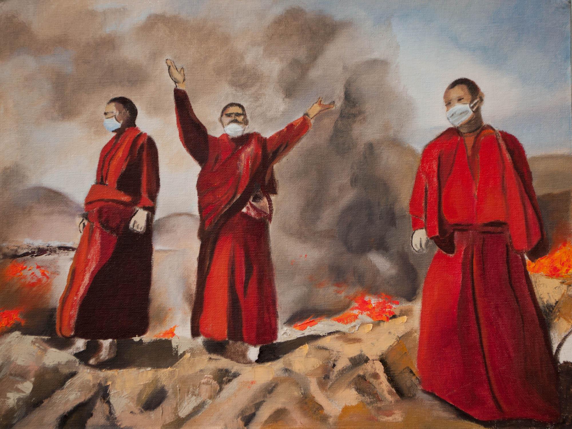 "Earthquake /Tibet, 12"" x 16"" Oil on Canvas Board, 2011"