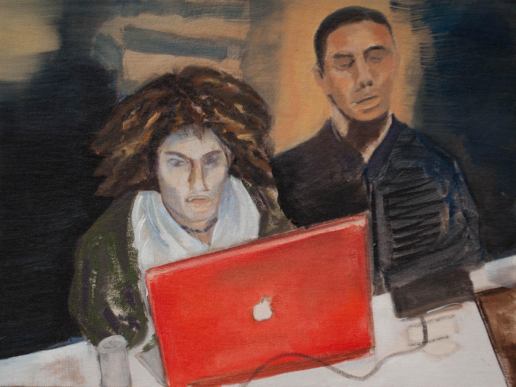 "Backbone of the Arab Spring / Egypt, 12"" x 16"" Oil on Canvas Board, 2011"