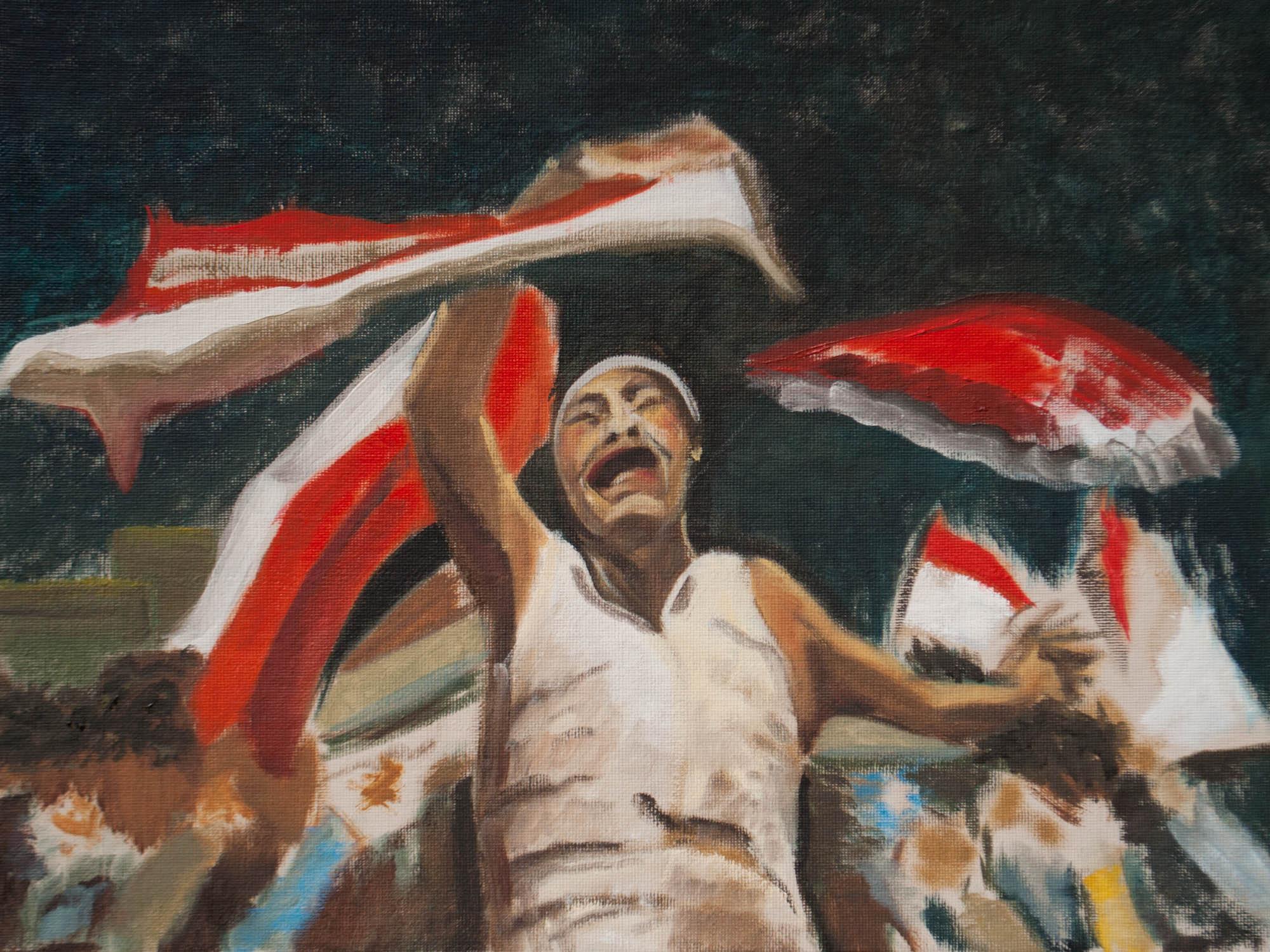 """Desperate / Yemen, 12"""" x 16"""" Oil on Canvas Board, 2011"""