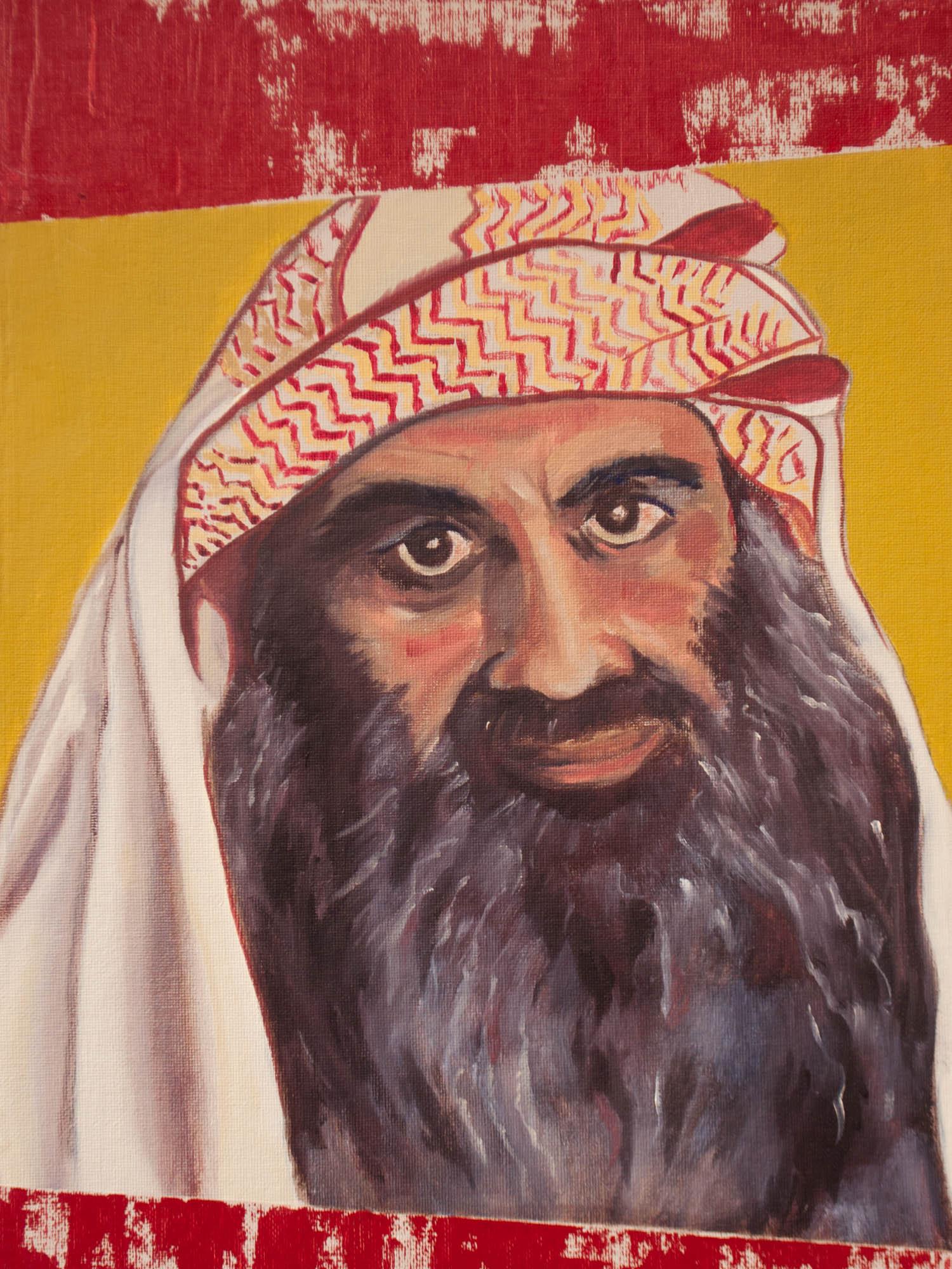 "Khalid Sheikh Mohammad / Pakistan, 16"" x 12"" Oil on Canvas Board, 2011"