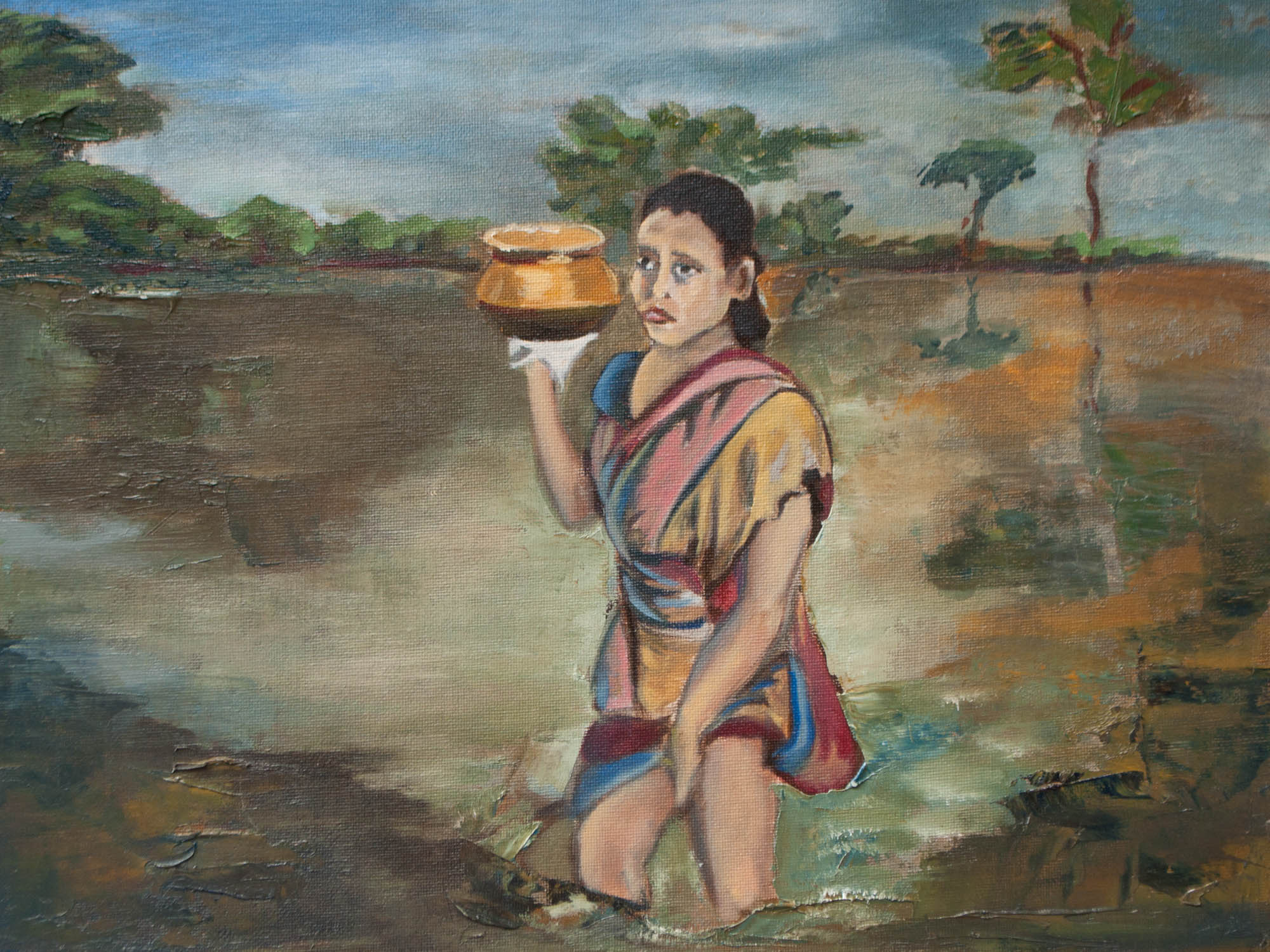 "Hungry / Pakistan, 12"" x 16"" Oil on Canvas Board, 2012"