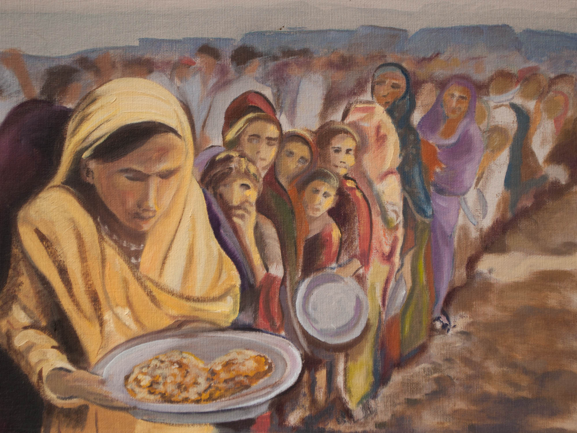 "Food Line / Pakistan, 12"" x 16"" Oil on Canvas Board, 2012"