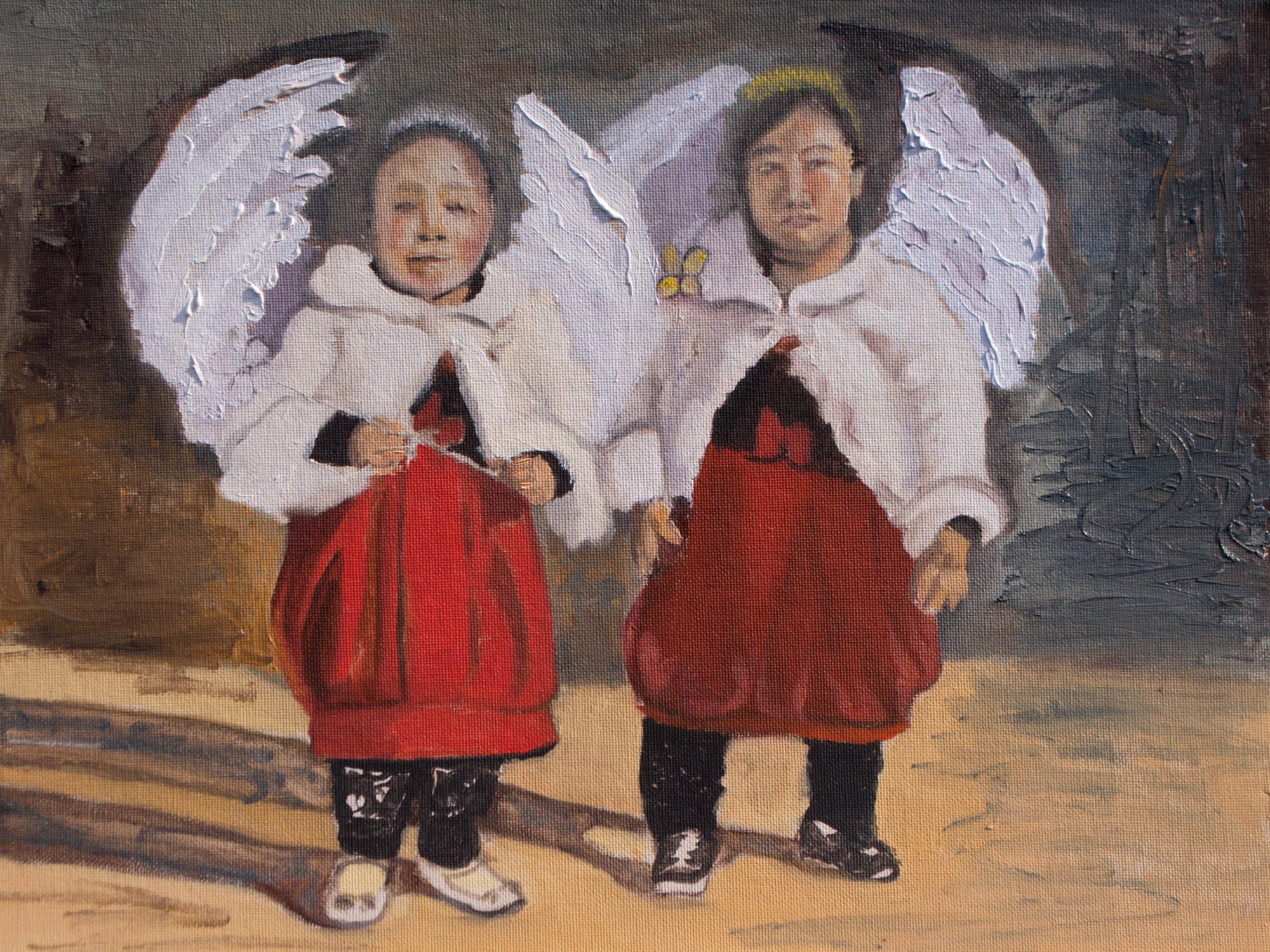 "Angels from the World of Little People /Japan, 12"" x 16"" Oil on Canvas Board, 2013"