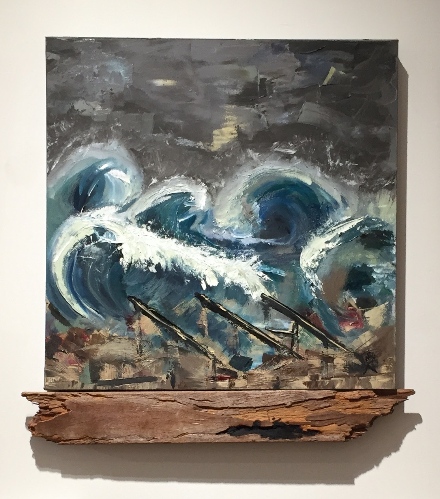 Homage to Superstorm Sandy, 27.5 x 27, Oil on Canvas w/boardwalk remnant